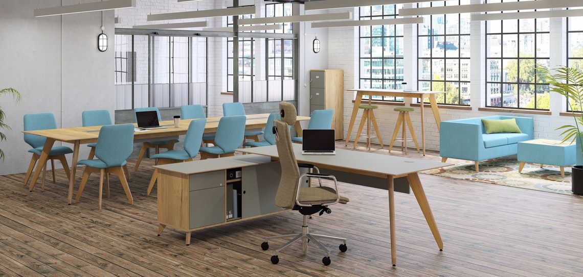 Ligni Desk with Angled Legs and Storage