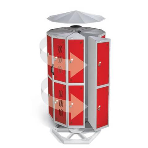 Lion-Steel-Rotating-Base-Locker-Unit-Red