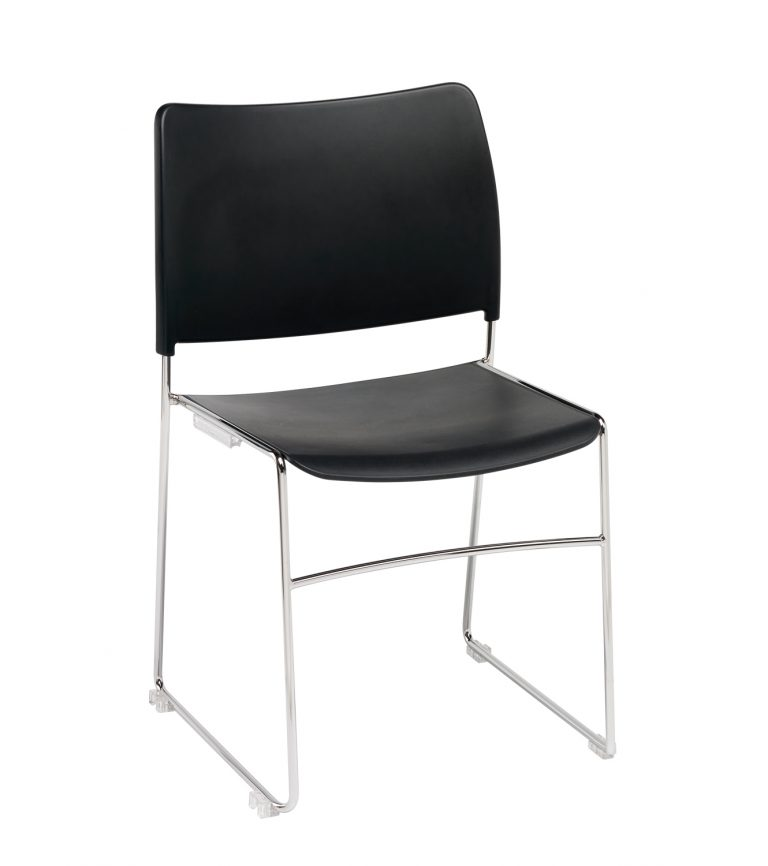 Modius Black Stacking Meeting Chair with Integral Linking