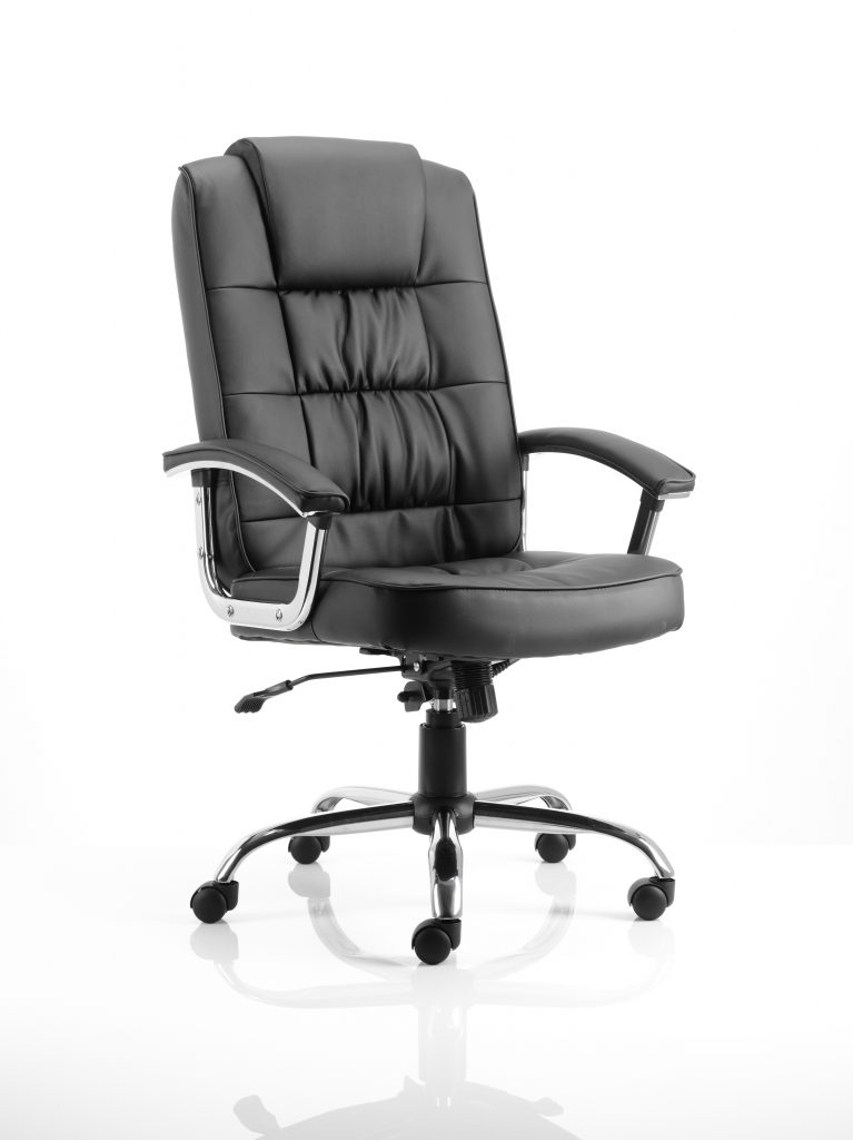 Moore Deluxe Black Leather Executive Chair with Arms