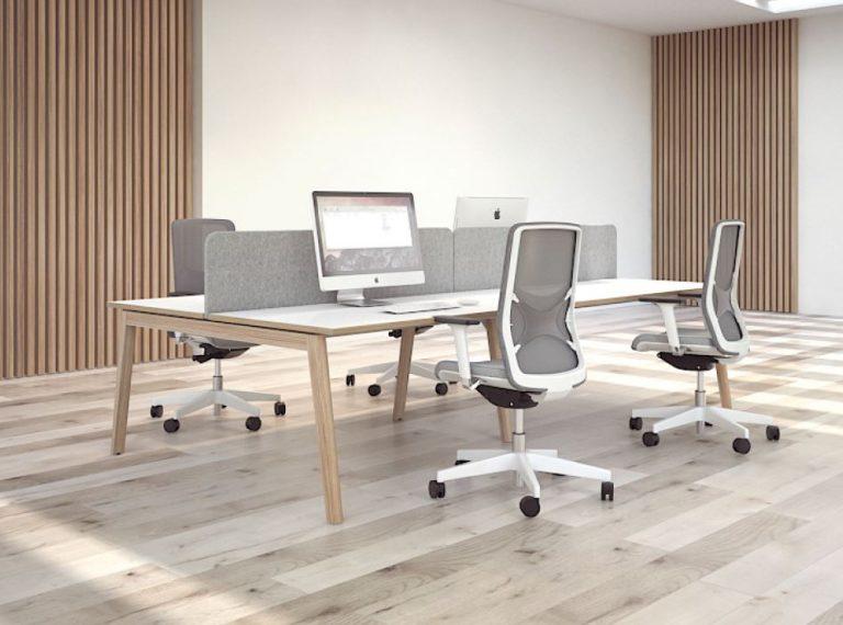 NOVA Wood Bench Desks In Situ