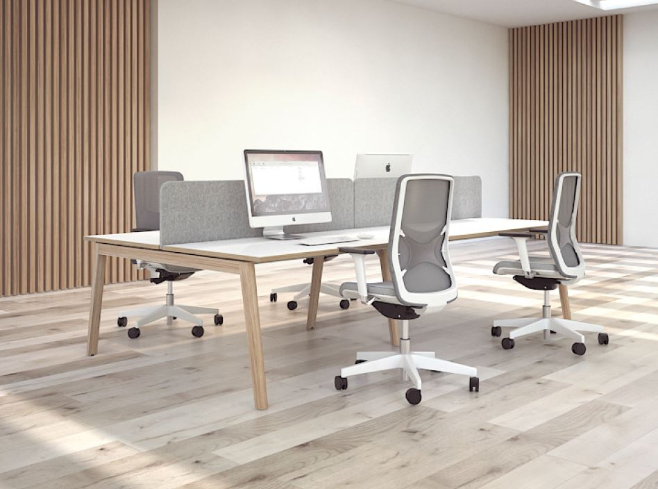 NOVA Wood Bench Desks In Situ