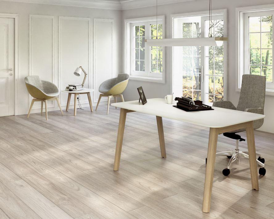 NOVA Wood Desk Ash Legs White Top In Situ