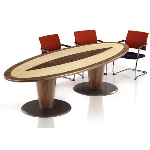 Oracle-Crossbanded-Veneer-Oval-Top-Boardroom-Table-Conical-Base