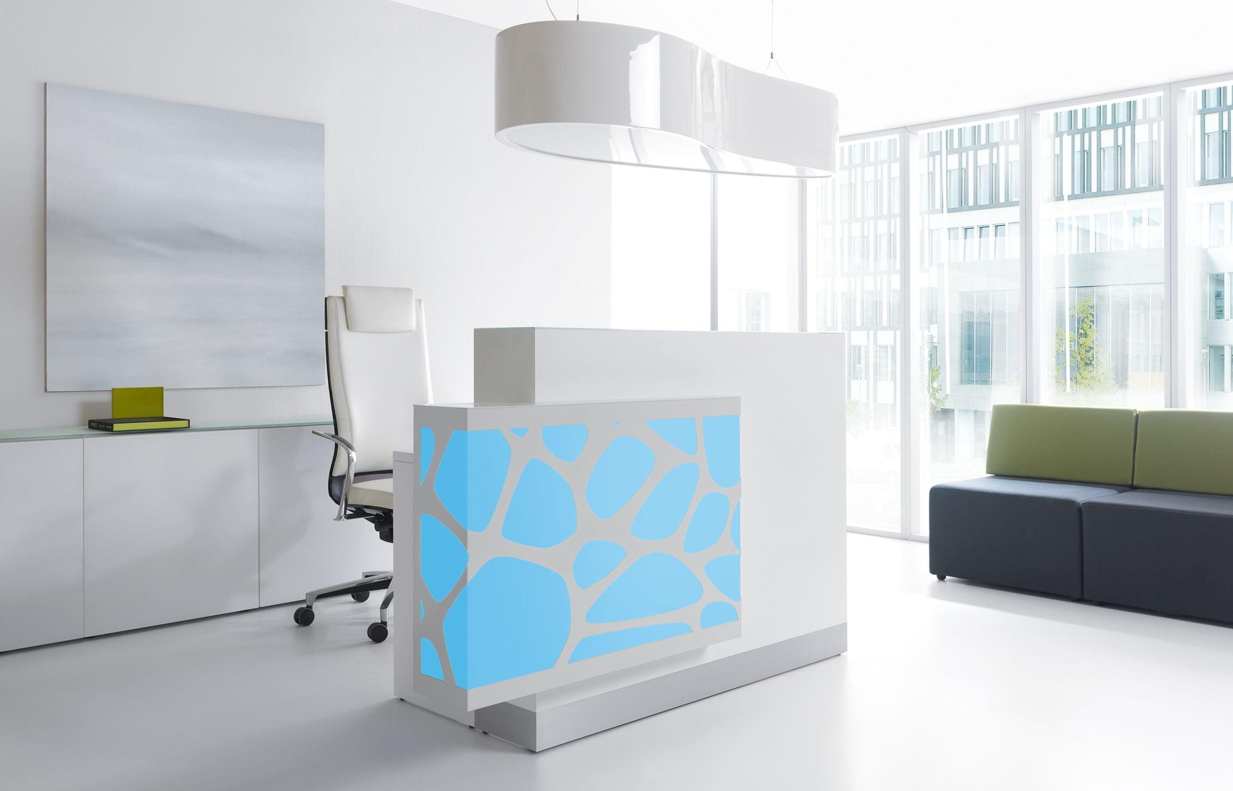 Organic Reception Desk RGBW Backlight Blue