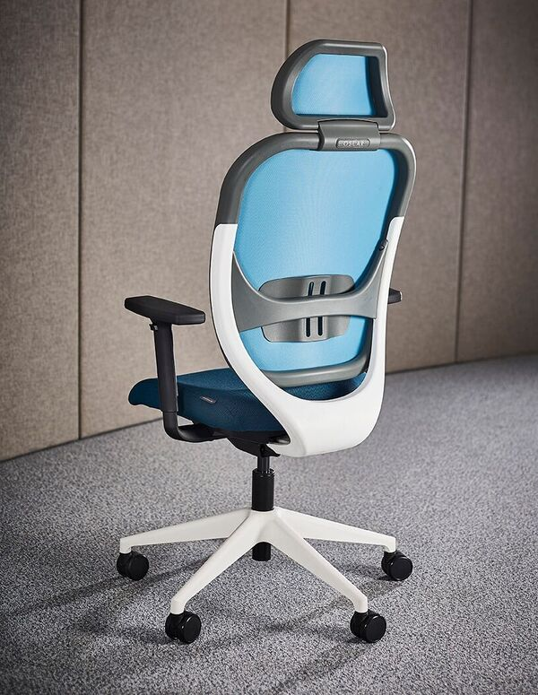 Oscar-Modern-Mesh-Back-Office-Chair-Blue-White-Back-View