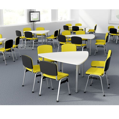 Plectra-White-Top-Triangular-Meeting-Table-Tubular-Legs-In-Situ