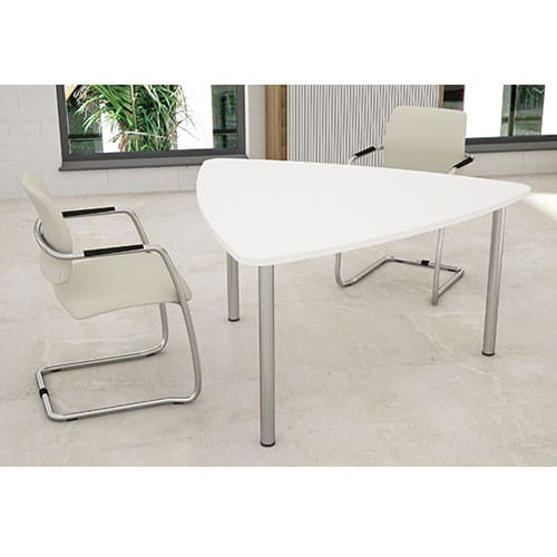 Plectra-White-Triangular-Top-Meeting-Table-Tubular-Legs