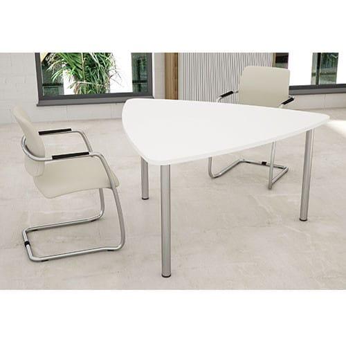 Plectra-White-Triangular-Top-Meeting-Table-Tubular-Legs