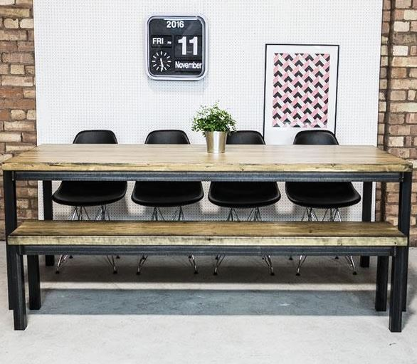 Rigg LArge Industrial Style Welded Frame Benching and Table