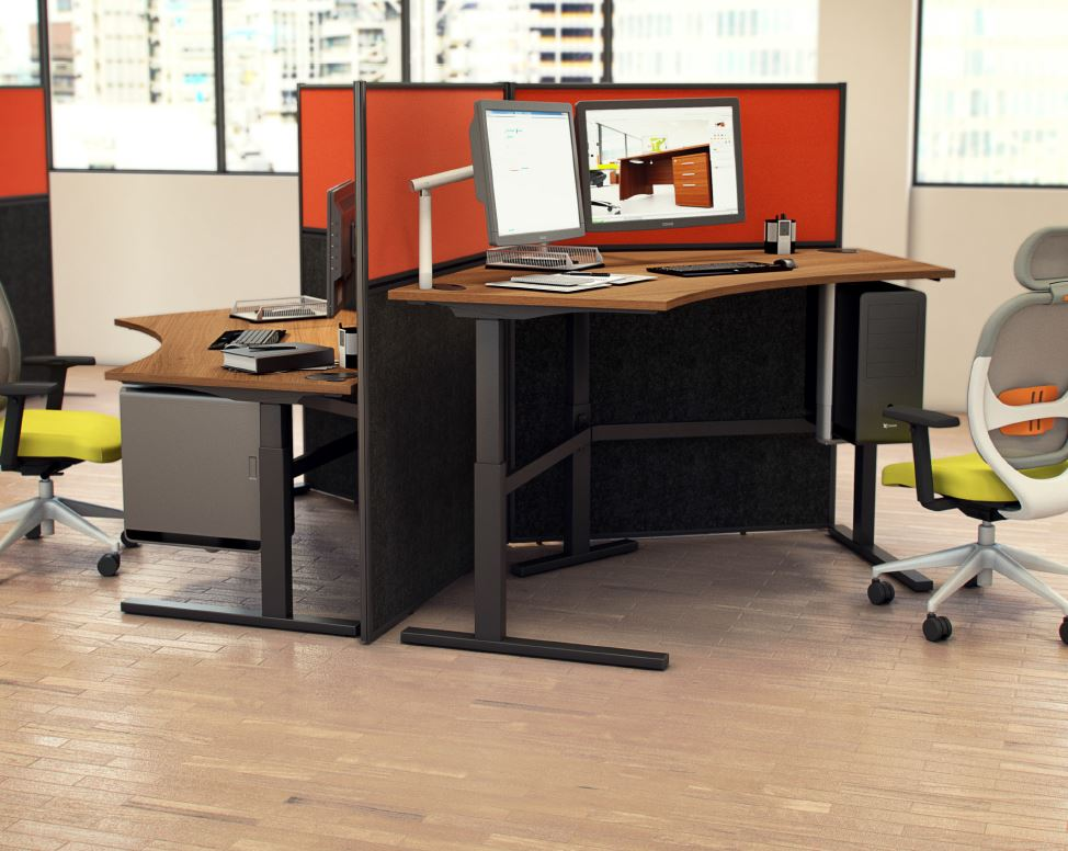 Rise-Height-Adjustable-Sit-Stand-Desk-Angled-Workstation-Back-to-Back-In-Situ
