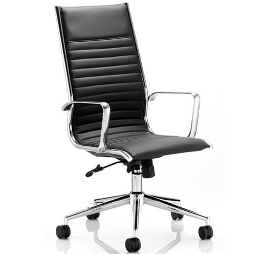 Ritz-Modern-Black-Leather-Executive-Chair-Chrome-Base