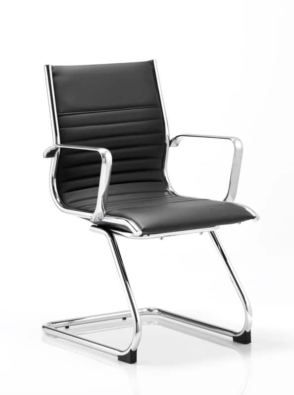 Ritz-Black-Bonded-Leather-Cantilever-Frame-Meeting-Chair-With-Arms