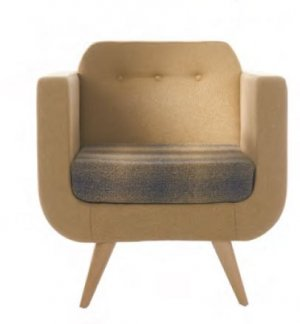 Retro Arm Chair with Wooden Legs