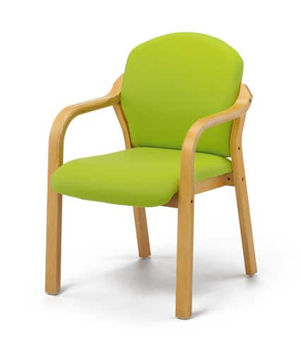 Wood-Beech-Frame-Visitors-Chair-With-Arms-Green