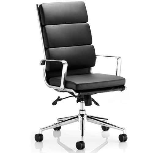 Savoy Black Leather Executive Chair With Chrome Base