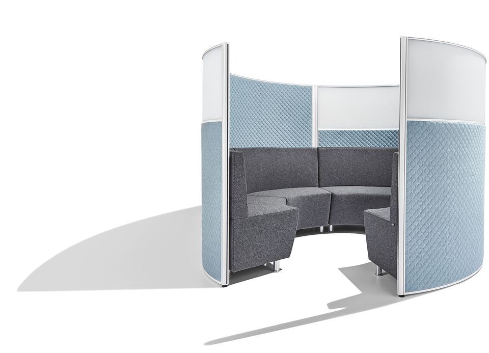 Screentek-Marathon-Curved-Part-Glazed-Meeting-Pod-Set-Up