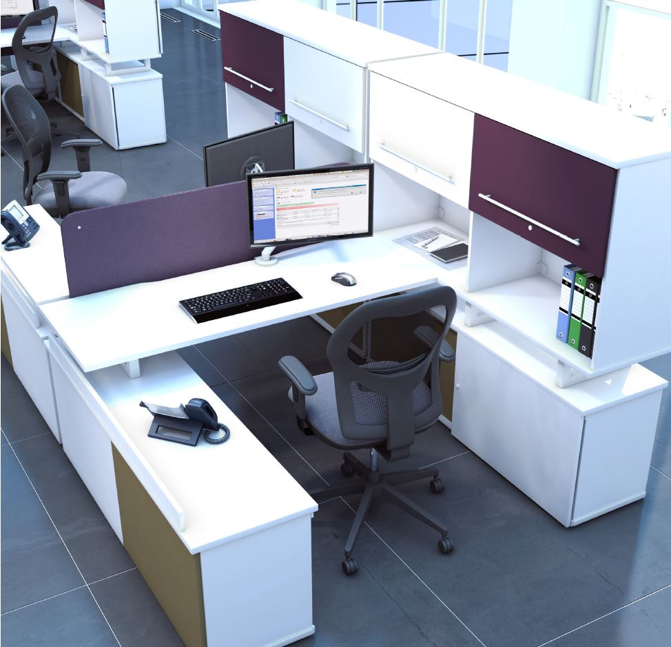 Script-Desking-System-with-Drop-Height-and-Overhead-Storage