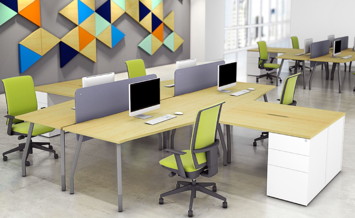 Script Desks with Storage and Grey Screens In Office Set Up