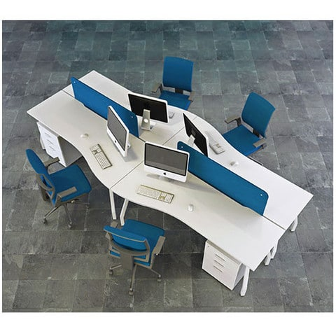Script-Wave-White-Top-Desks-Group-Set-Up