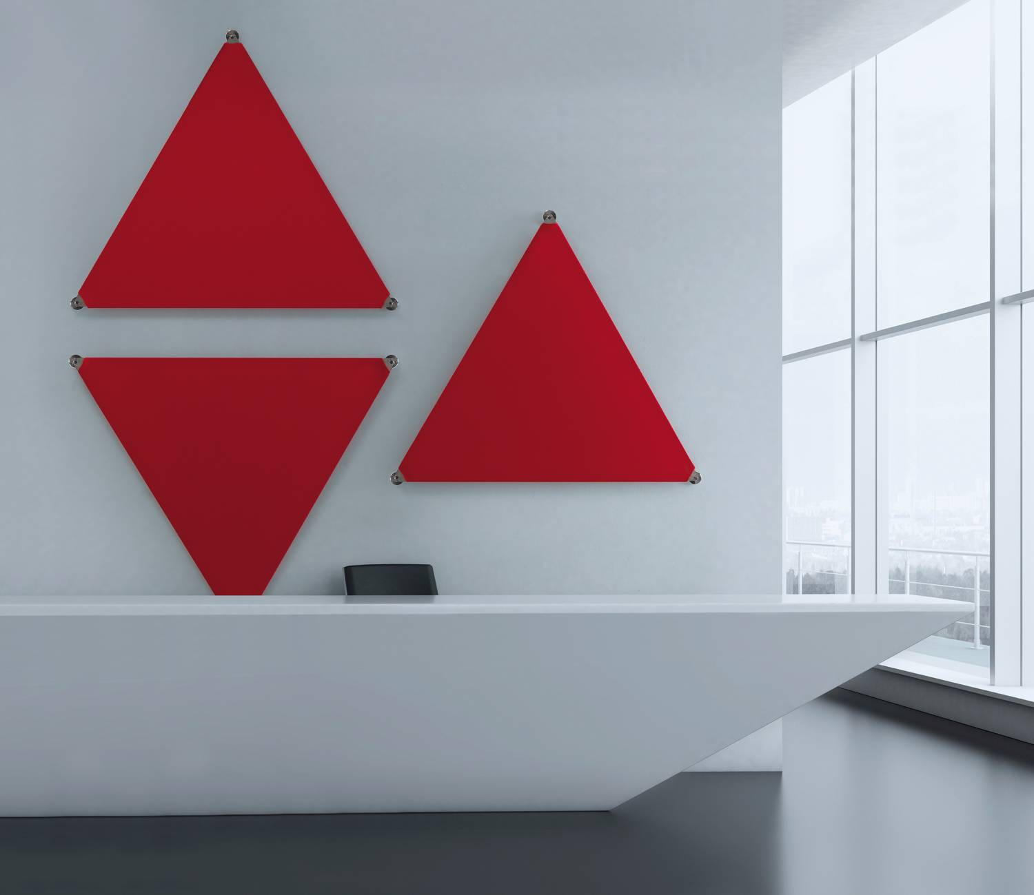 Sipario-Ocee-Triangular-Wall-Mounted-Acoustic-Panels-In-Reception-Area