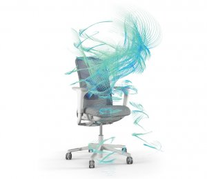 The blue lines on the image trace the movements of a user sat on the SoFi during the study
