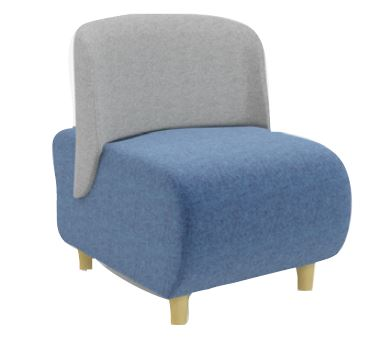 Solent Modular Soft Seating Single Seater Wooden Leg Unit