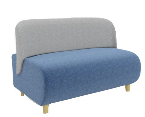 Solent Modular Soft Seating Two Seater Wooden Leg Unit
