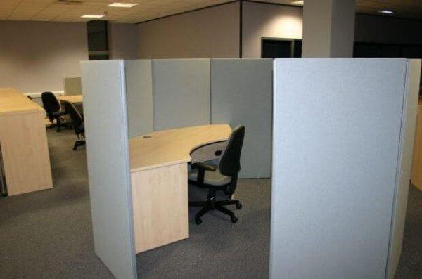 Floor Standing Office Screen Grey Fabric