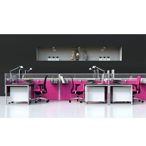 Sprint-Pink-Freestanding-Office-Partitions-Example-Set-Up