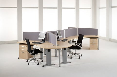 Sprint-Desk-Mounted-Fabric-Desk-Partitions-In-Situ