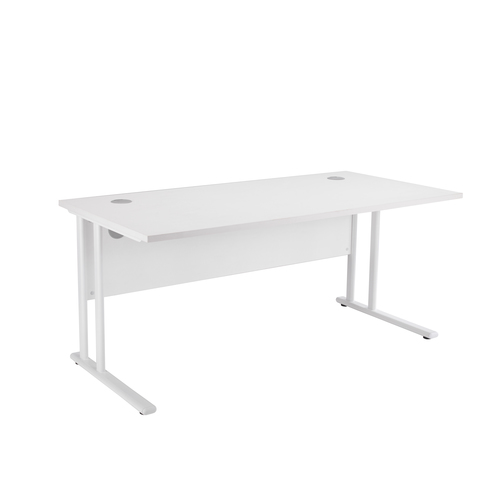 Rectangular Cantilever Frame MFC Desk White