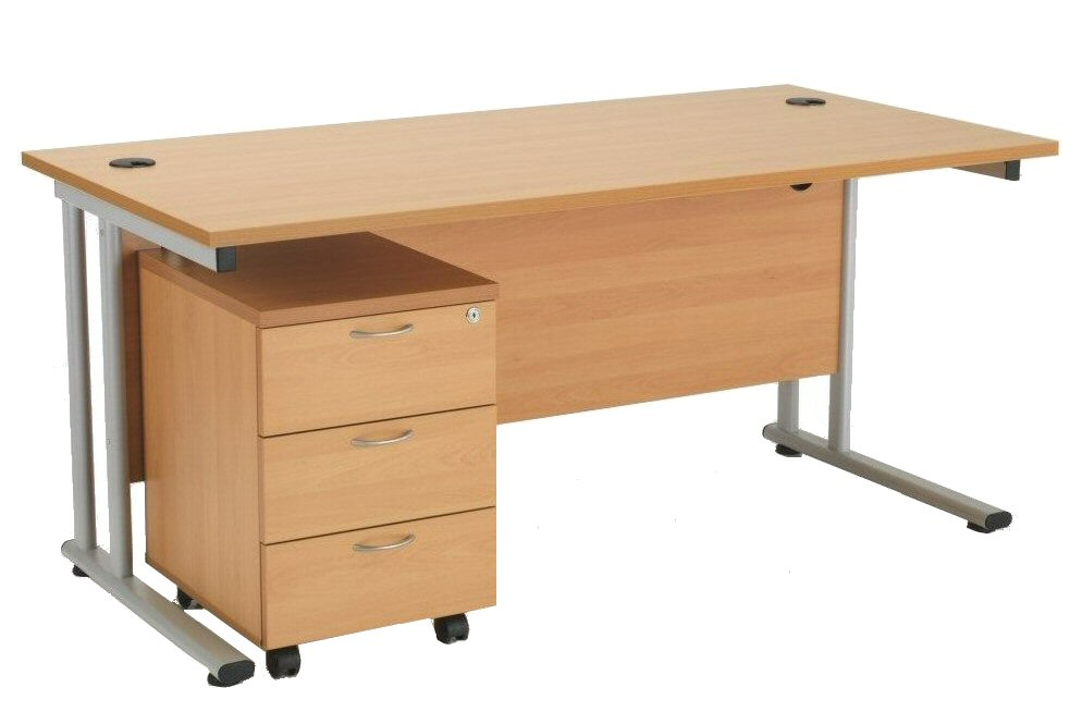 Rectangular MFC Desk and Mobile Pedestal
