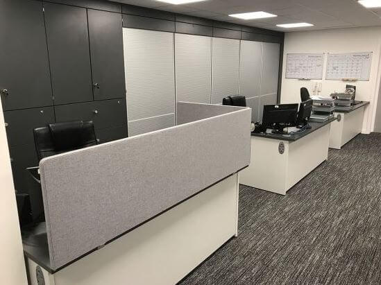 Grey Storage Wall In Office