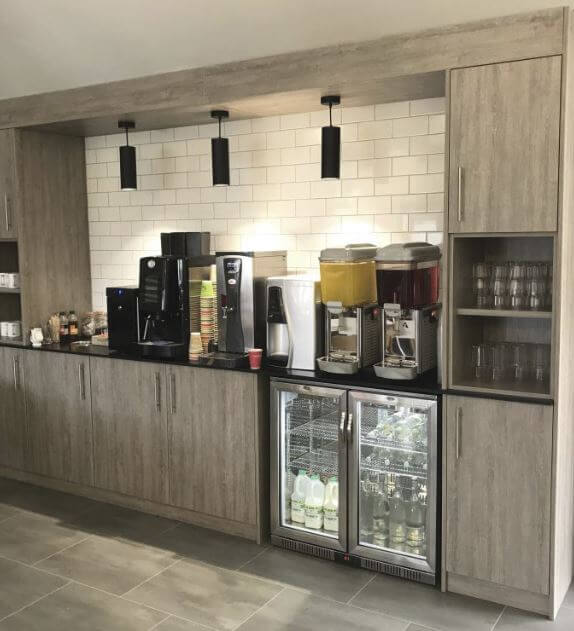 Canteen Storage Wall with Built In Appliances