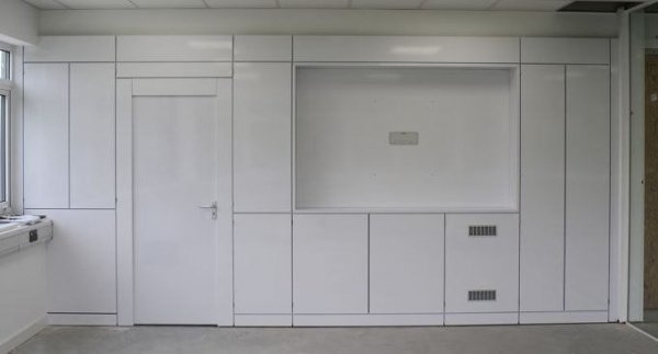 White Built In Storage Wall with Pass Through Door