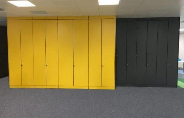 Yellow and Grey Storage Wall with Doors