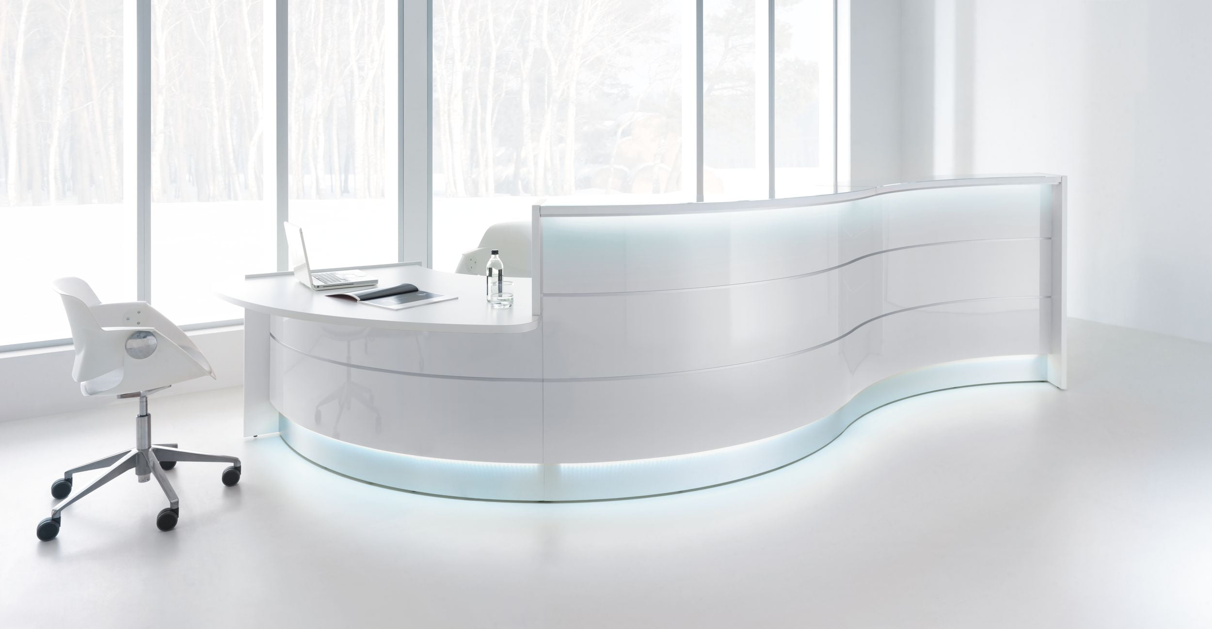 Valde Reception Desk Gloss White