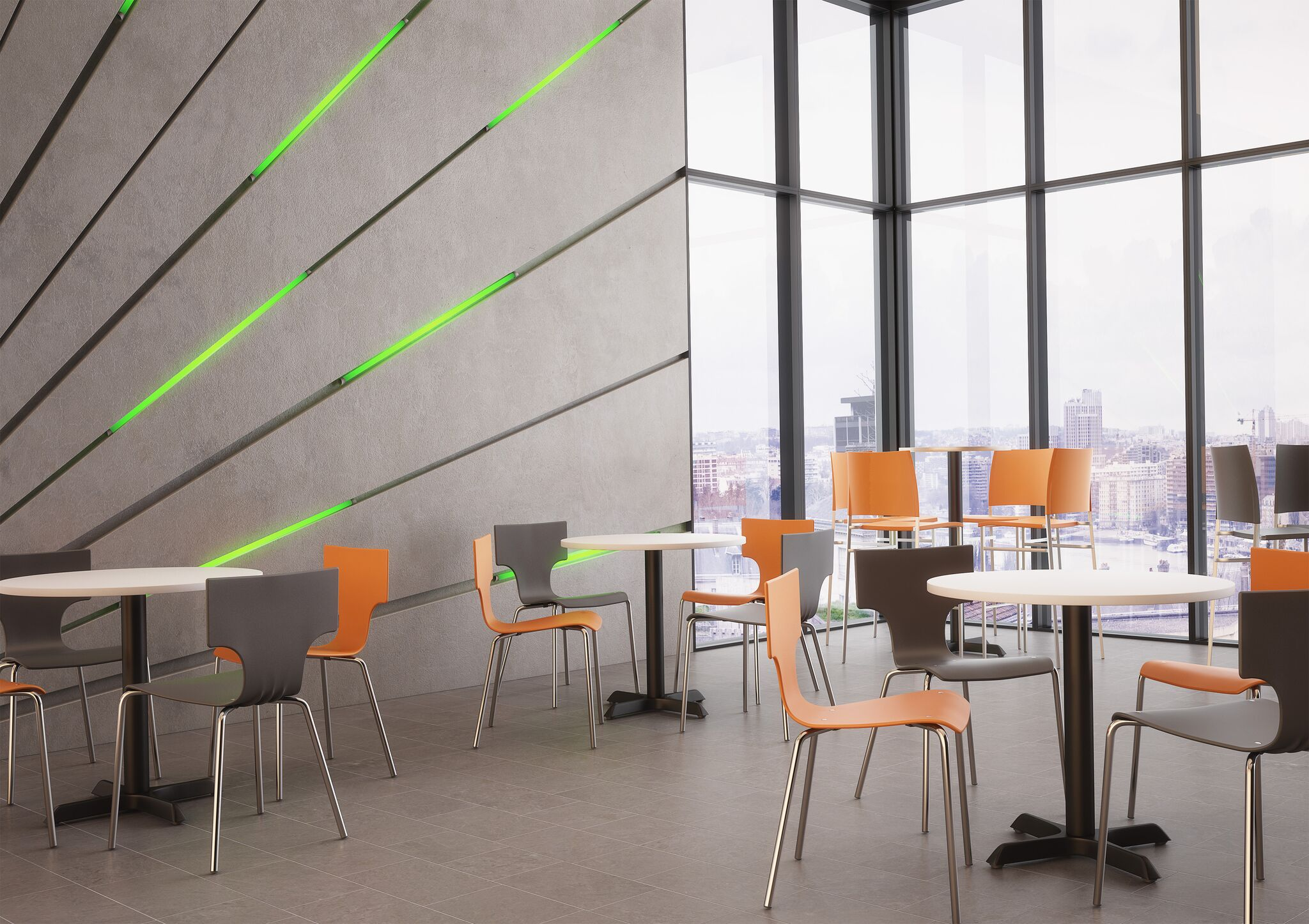 Modern Plastic Canteen Chairs Orange Grey