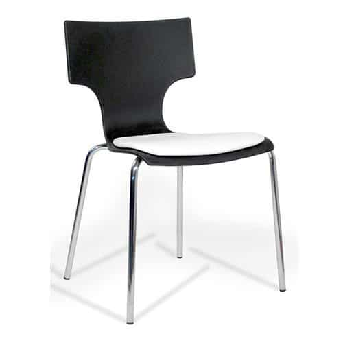 Visa-Black-Plastic-Canteen-Chair-with-Upholstered-Seat-Pad