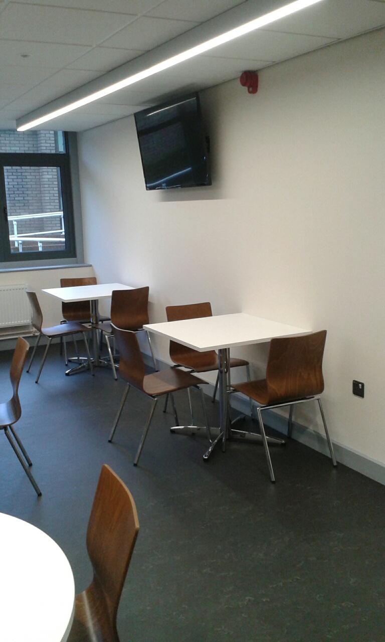 White LTC Tables and Espacio Chairs