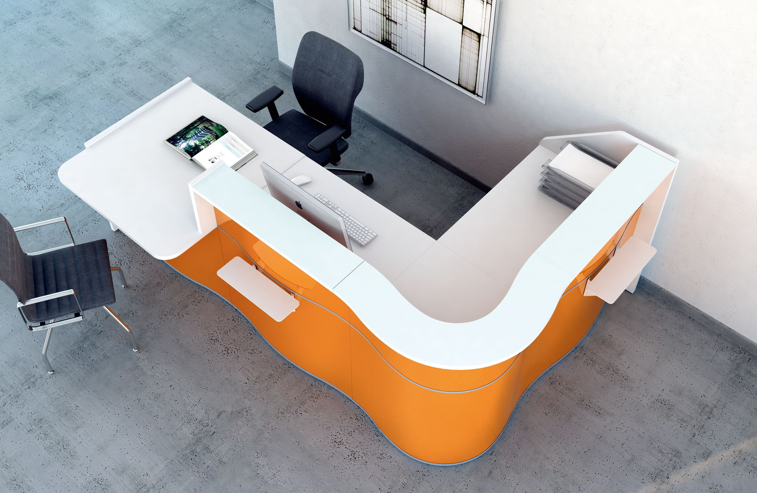 Wave Reception Desk Gloss Orange MDD