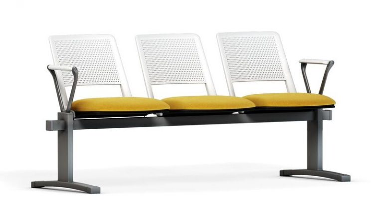 Zela Beam Seating Upholstered Seat Perforated Plastic Back