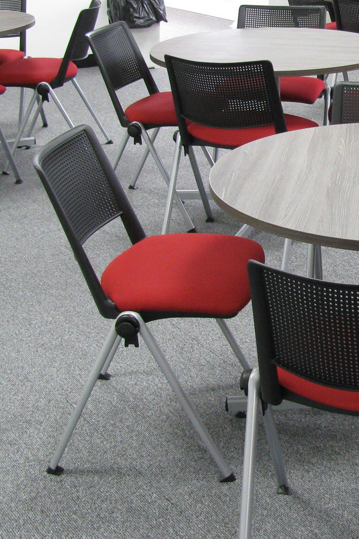 Zela Upholstered Seat Red Black Back