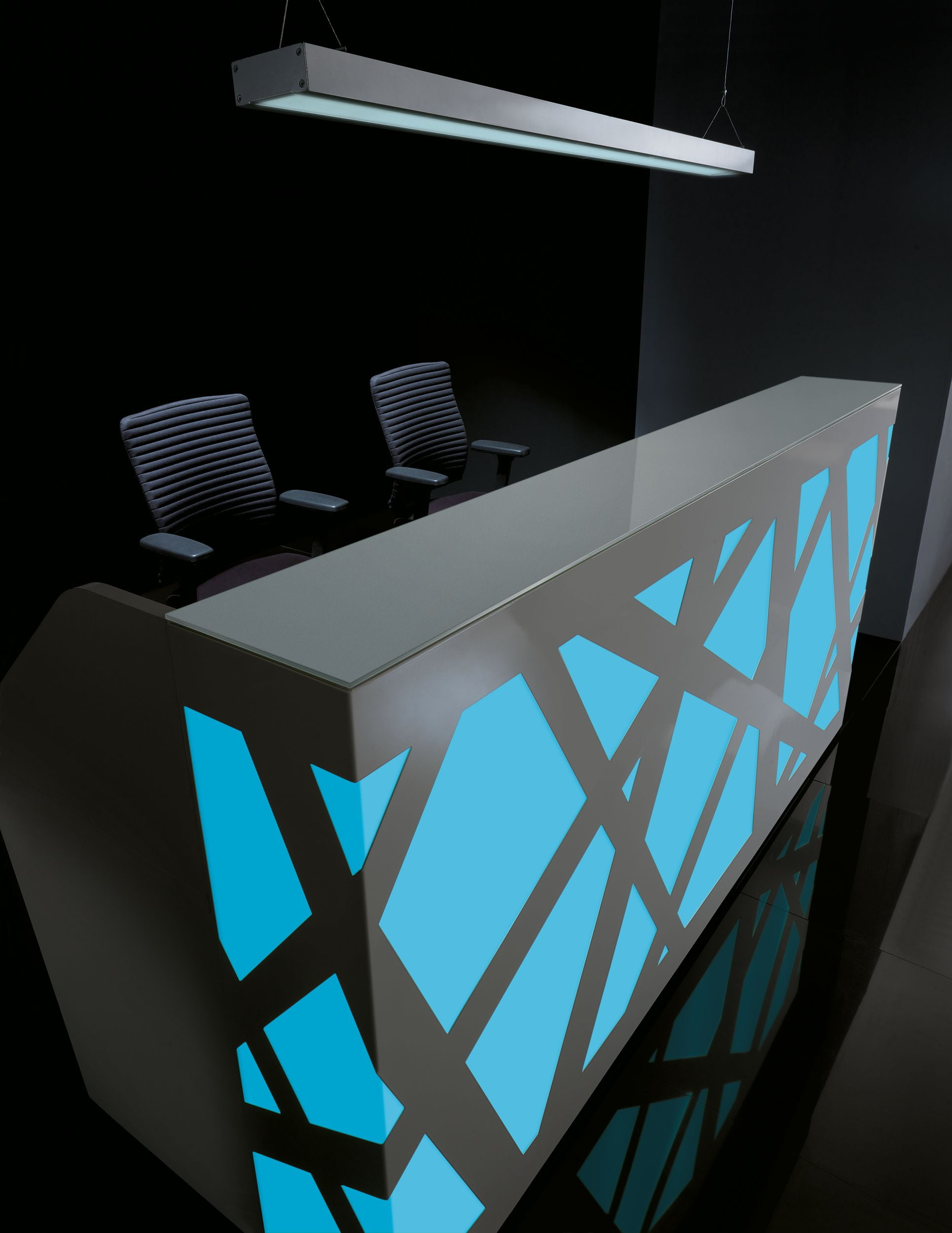 ZigZag Reception Desk Blue