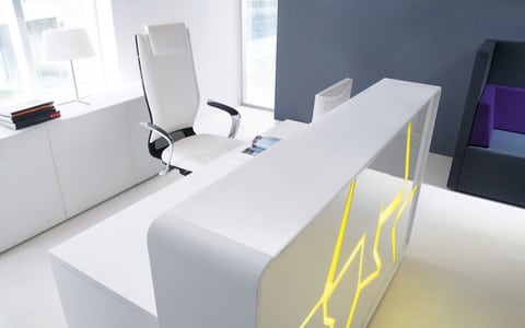Arctic-Summer-White-LAquered-Modern-Reception-Desk-Yellow-Backlight