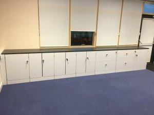 classroom refurb white gloss storgae area