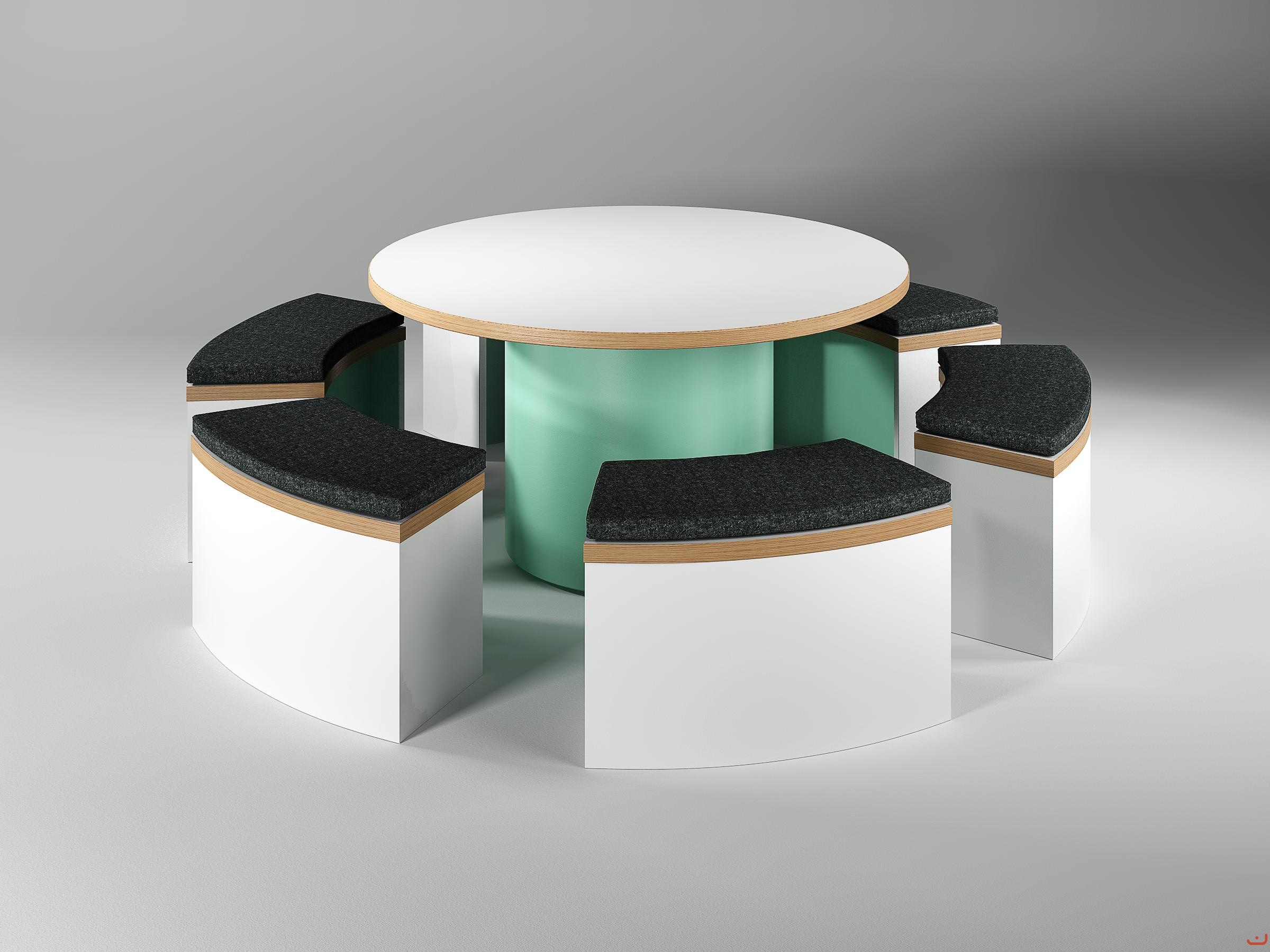 Jive-Canteen-Furniture-Circular-Tables-and-Benching-with-Upholstered-Seat-Pads