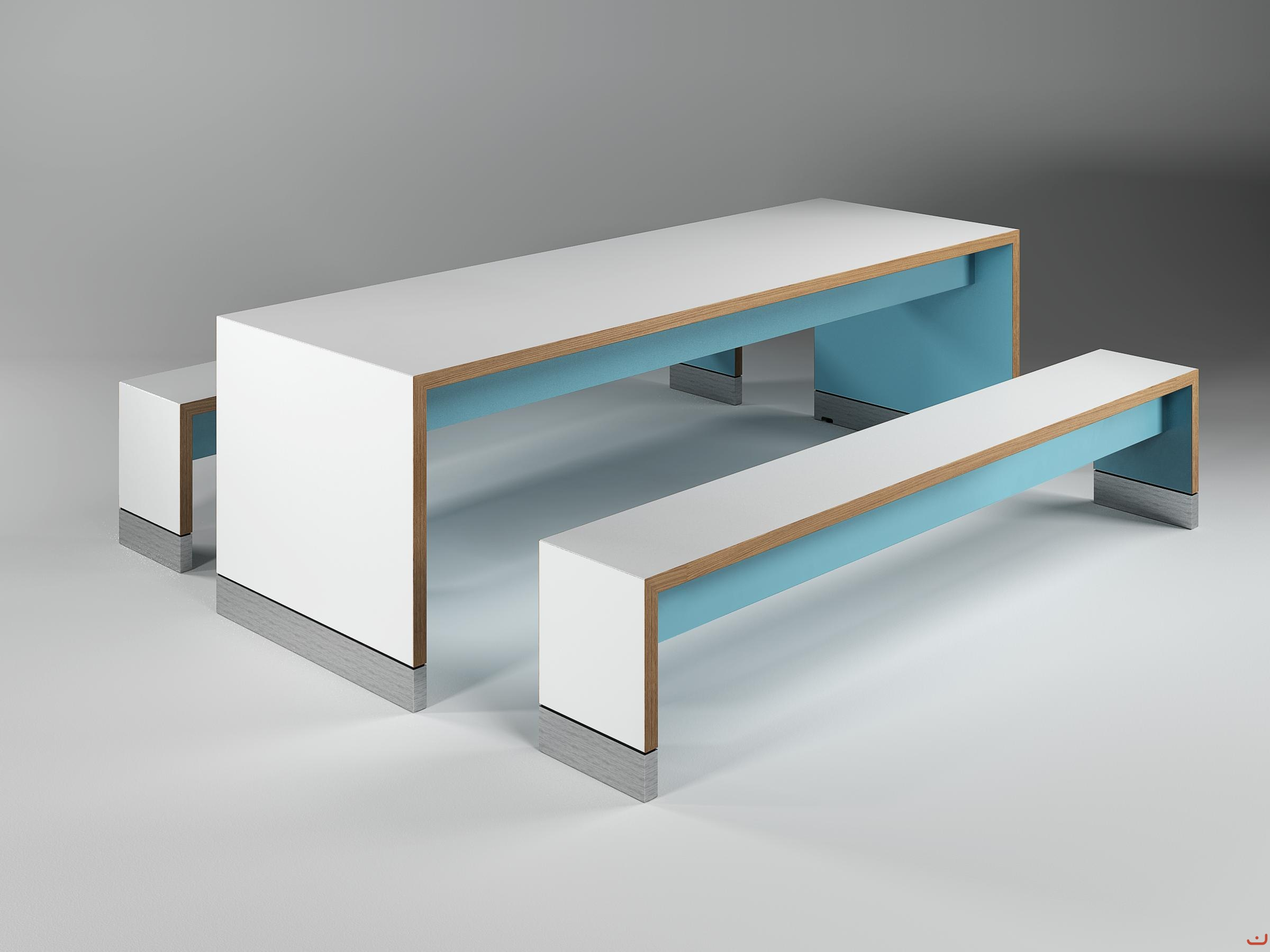 Jive-Canteen-Furniture-Benching-Blue-Solid-Oak-Edging