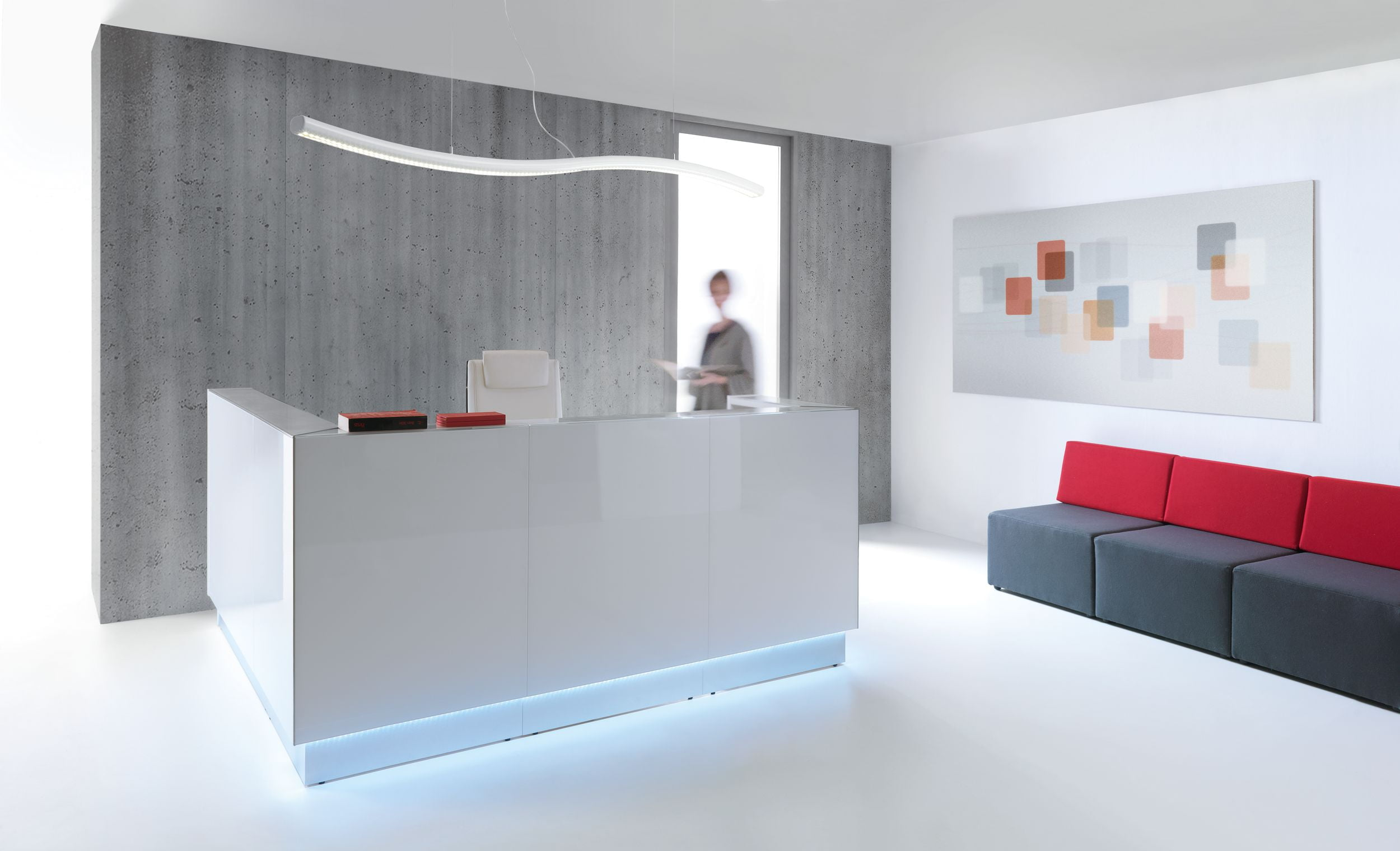 White MDD Linea Reception Desk In Situ